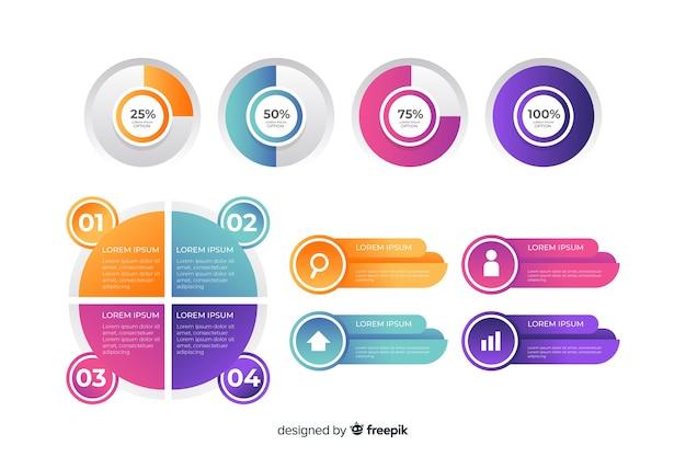 Raccolta di grafici di marketing infografico