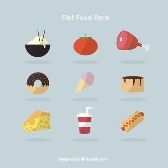 Raccolta di gustosi foopdstuff in design piatto