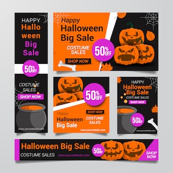 Raccolta di halloween banner vendita sfondo