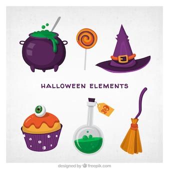 Raccolta di halloween con stile colorato