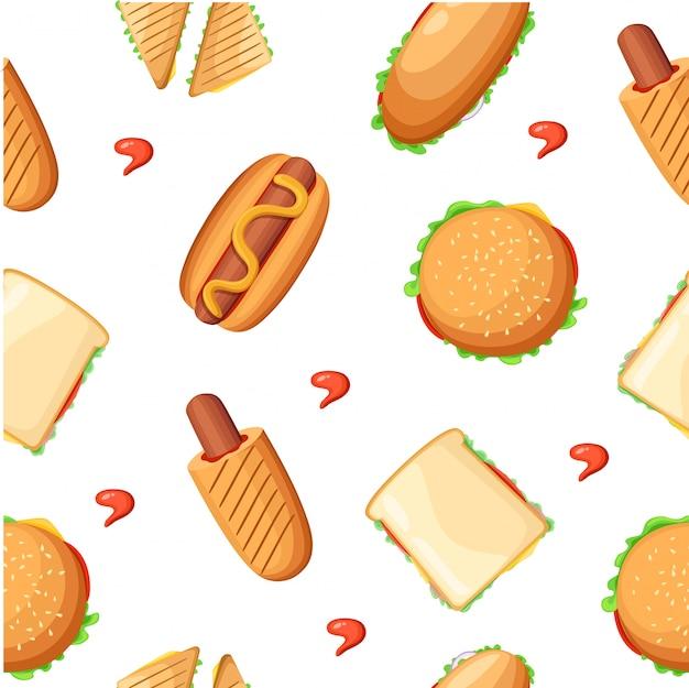 Raccolta di icone colorate del menu del ristorante fast food con ketchup di pollo pizza hot dog e illustrazione di milkshake pagina del sito web ed elemento di app mobile.