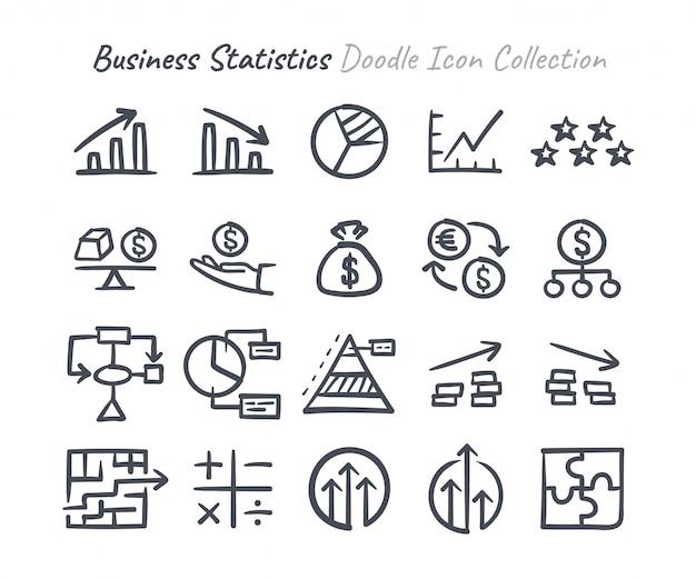 Raccolta di icone di doodle di statistiche aziendali