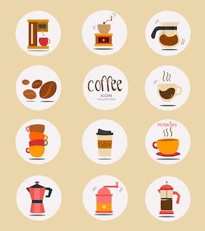 Raccolta di icone di roba caffè piatta