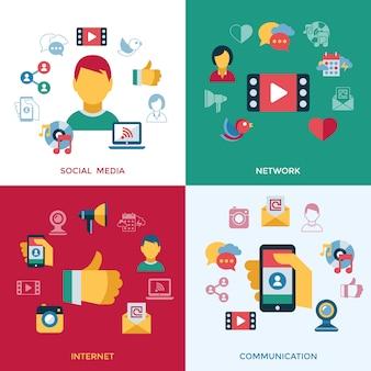 Raccolta di icone di social media e comunicazione