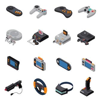 Raccolta di icone isometriche di giochi gadget