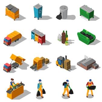 Raccolta di icone isometriche di riciclaggio dei rifiuti