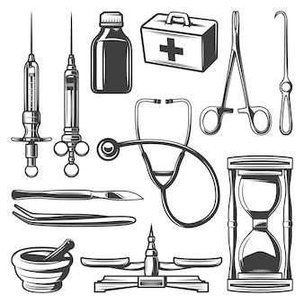Raccolta di icone mediche vintage con siringhe medico borsa stetoscopio clessidra bottiglia di mortaio scale strumenti chirurgici isolati