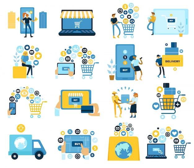Raccolta di icone piane di simboli online d'acquisto in tutto il mondo con riempimento del paniere e-shop pagando la consegna a domicilio