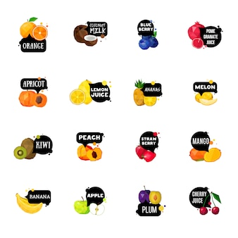 Raccolta di icone poligonali di etichette di frutta fresca
