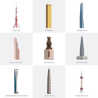 Raccolta di illustrazione di monumenti famosi turistiche