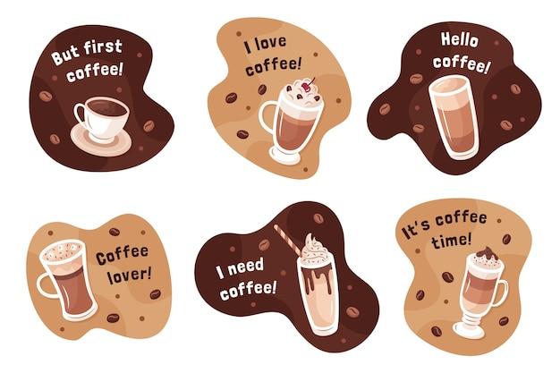 Raccolta di illustrazione di tipi di caffè