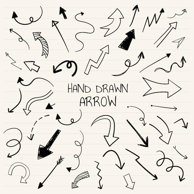 Raccolta di illustrazione freccia disegnata a mano
