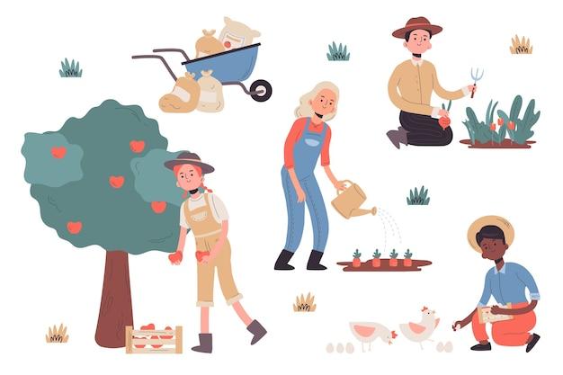 Raccolta di illustrazioni agricole