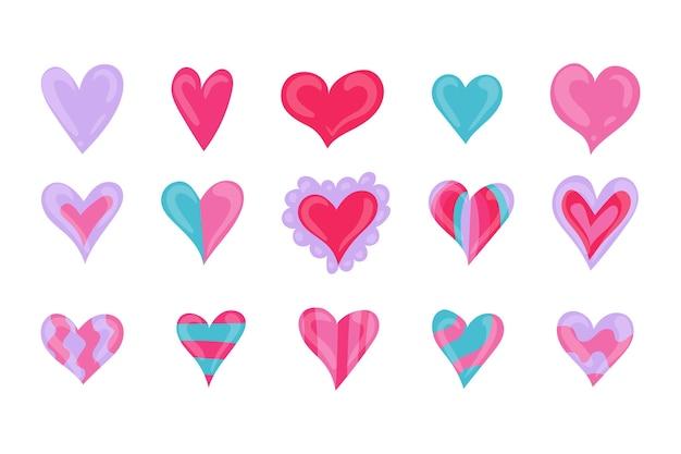 Raccolta di illustrazioni di cuore disegnati a mano