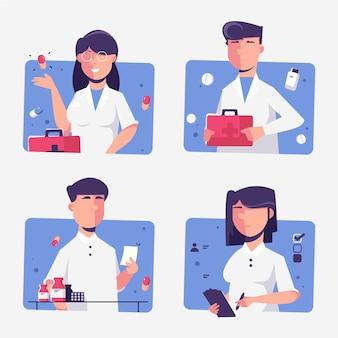 Raccolta di illustrazioni di farmacisti