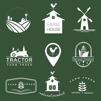 Raccolta di illustrazioni di icone di agricoltura