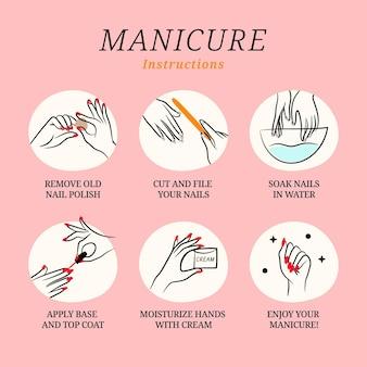 Raccolta di illustrazioni di istruzioni per manicure