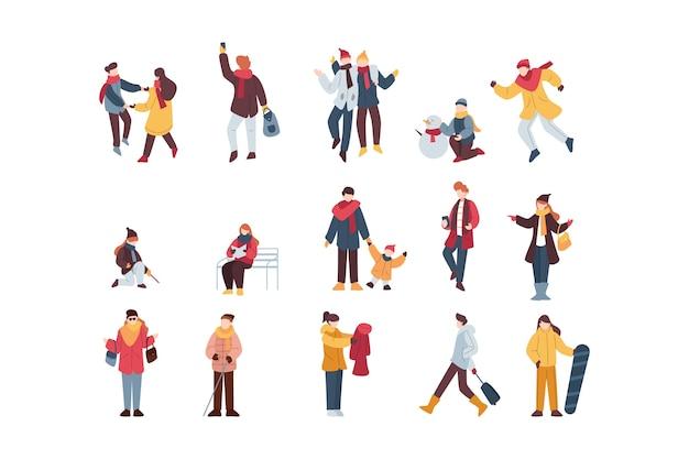Raccolta di illustrazioni di persone invernali