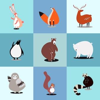 Raccolta di illustrazioni di simpatici animali selvatici