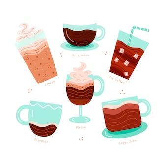 Raccolta di illustrazioni di tipi di caffè