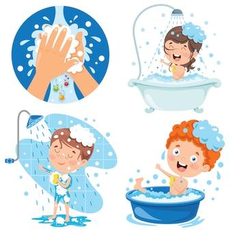 Raccolta di illustrazioni per la cura personale dei bambini