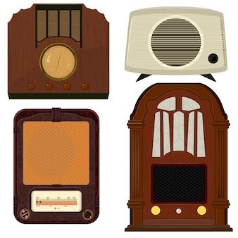 Raccolta di illustrazioni vettoriali di vecchia radio