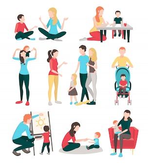 Raccolta di immagini piatte di persone babysitter con personaggi umani isolati