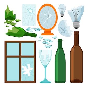 Raccolta di immondizia di vetro, bottiglie vuote, specchio di brokem e finestra, icone delle lampadine