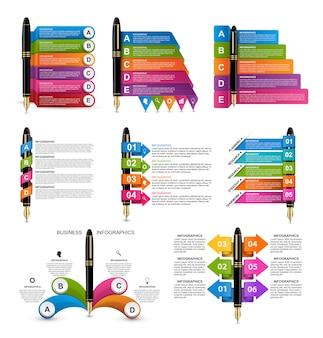 Raccolta di infografica con penne a inchiostro.