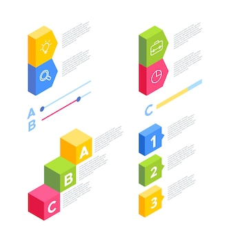 Raccolta di infografica isometrica di affari