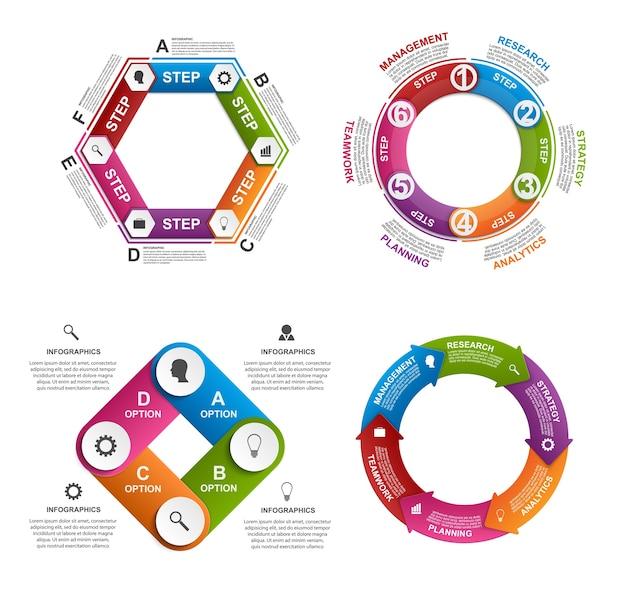 Raccolta di infografiche colorate.