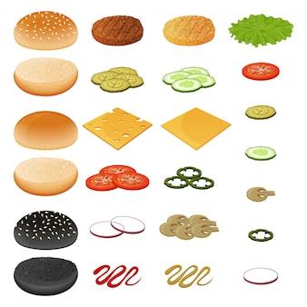 Raccolta di ingredienti per hamburger, verdure, cotoletta, formaggio, salsa e panino. oggetto per imballaggio, pubblicità, menu. isolato su bianco