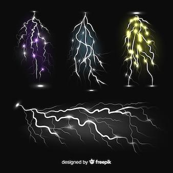 Raccolta di lampi colorati su sfondo nero