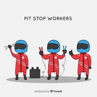 Raccolta di lavoratori di pit stop f1