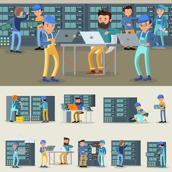 Raccolta di lavoratori professionisti del datacenter