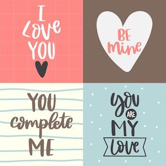 Raccolta di letter-love hand lettering