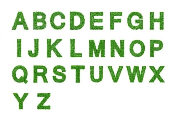 Raccolta di lettere di erba. az isolato. simbolo ecologico