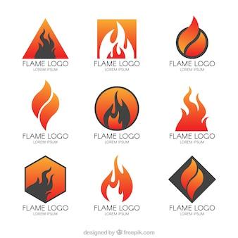 Raccolta di loghi moderni di fiamme