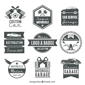 Raccolta di loghi moto d'epoca e distintivi