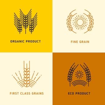 Raccolta di loghi vettoriali con chicchi di grano