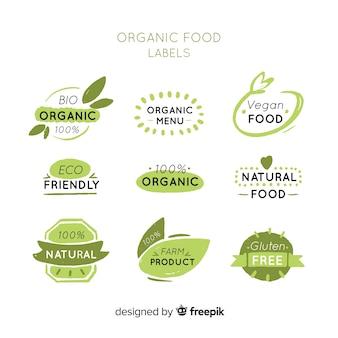 Raccolta di logo di cibo sano disegnato a mano