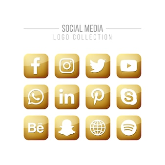 Raccolta di logo dorato di media sociali