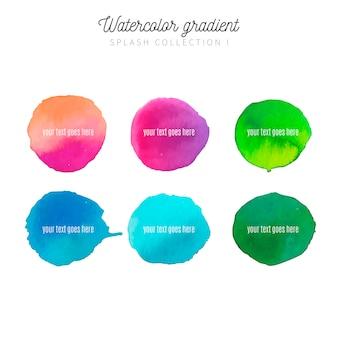 Raccolta di macchie acquerello con colori moderni