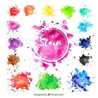 Raccolta di macchie colorate ad acquerello