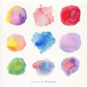 Raccolta di macchie di acquerello colorato