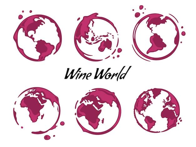 Raccolta di macchie rotonde di vino a forma di mappa del mondo