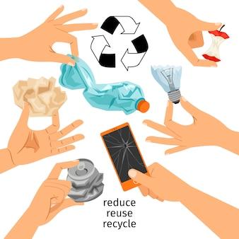 Raccolta di mani con la spazzatura, riciclare la spazzatura