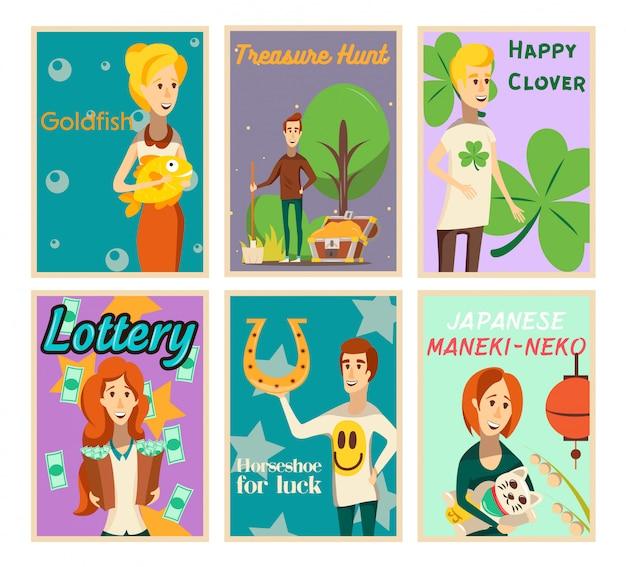 Raccolta di manifesti di situazioni fortunate di composizioni di immagine piatte con caratteri umani felici e illustrazione di vettore del testo