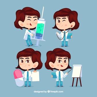 Raccolta di medico femminile con stile infantile