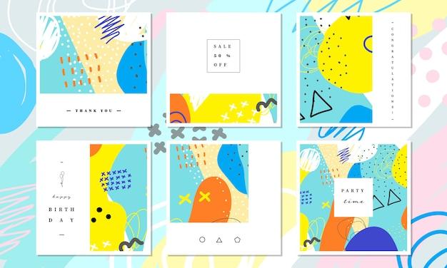 Raccolta di modelli di banner e scheda di media sociali nella progettazione di pittura colorata astratta.